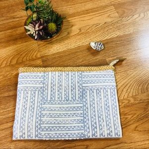 Manaola blue and white clutch/cosmetic bag